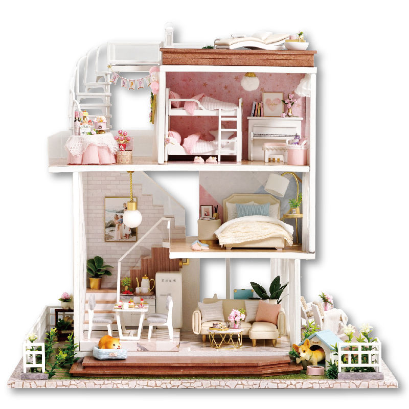 DIY Doll House Furniture with LED lights Miniature 3D Wooden Miniaturas House Casa Dollhouse Toys for Children Birthday Gifts