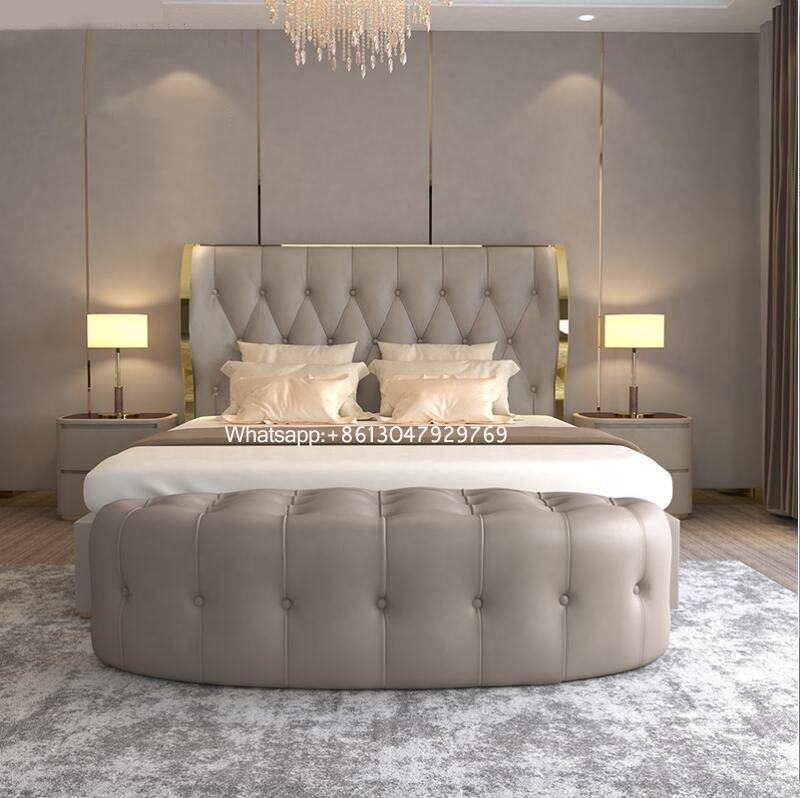 modern bedroom frurniture queen size microfiber leather fancy beds king size button tufted leather headboard bed