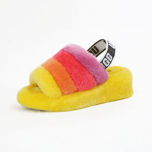 Factory multi colorful sheepskin slippers for women