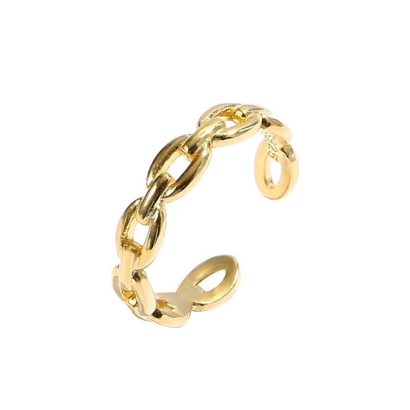 Minimalist fashion Women Jewellery 925 Sterling Silver knot cable adjustable rings gold plated