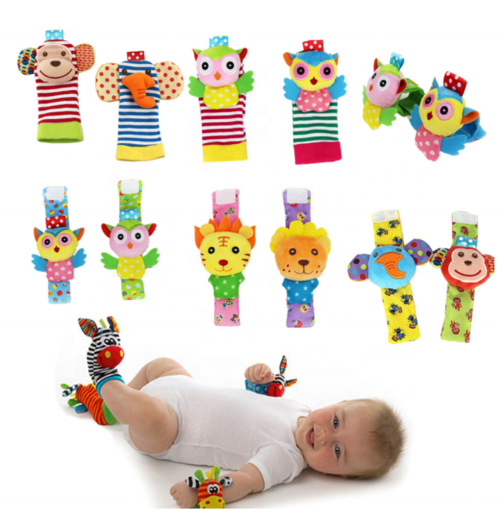 Cartoon Soft Animal Baby Kids Rattle toys 0~24 Months Infant Baby Wrist Rattle and Baby Foot Socks Rattle Toys