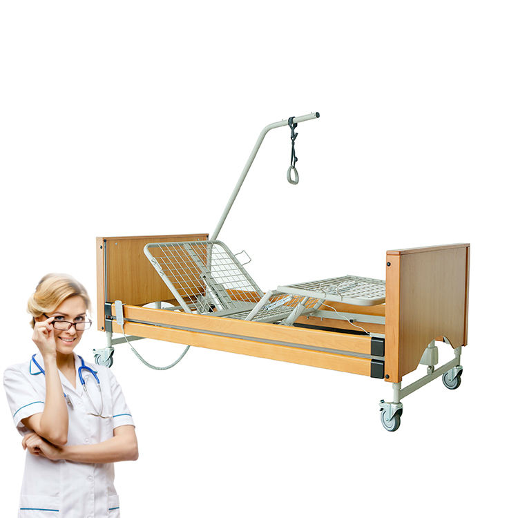 Hot sales luxury bed solid wooden boards 5 function electric Nursing home hospital bed for nursing home