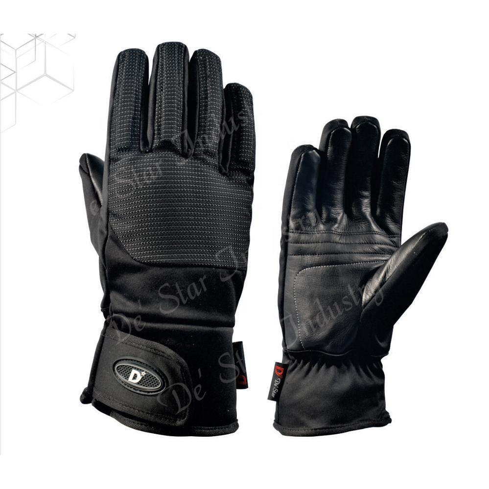 Pakistan high grade black goat leather pre-curved winter ski gloves
