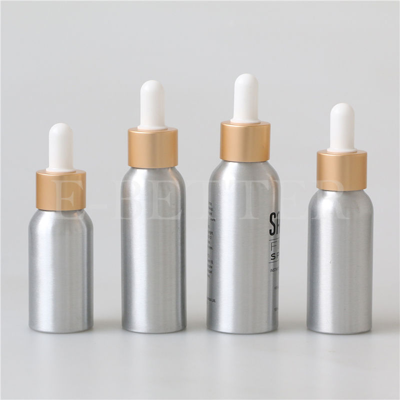 30ml 50ml 100ml serum essential oils aluminum bottle with glass dropper