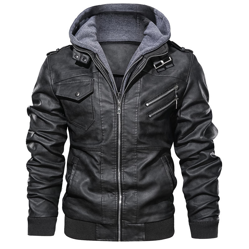 2019 Autumn Mens Bomber Leather Jacket Chaqueta Hombre Cuero Long Sleeves Zip Black Motorcycle PU Leather Jackets 3XL Plus Size
