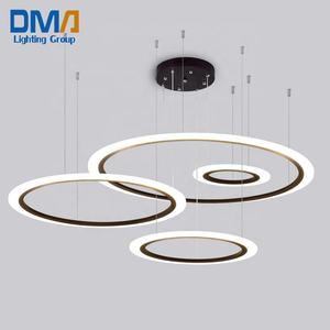 Fancy Modern Acrylic Circle Lights Ring Chandeliers Fixture Round Hanging Light Circular Led Pendant Lamp For Restaurant