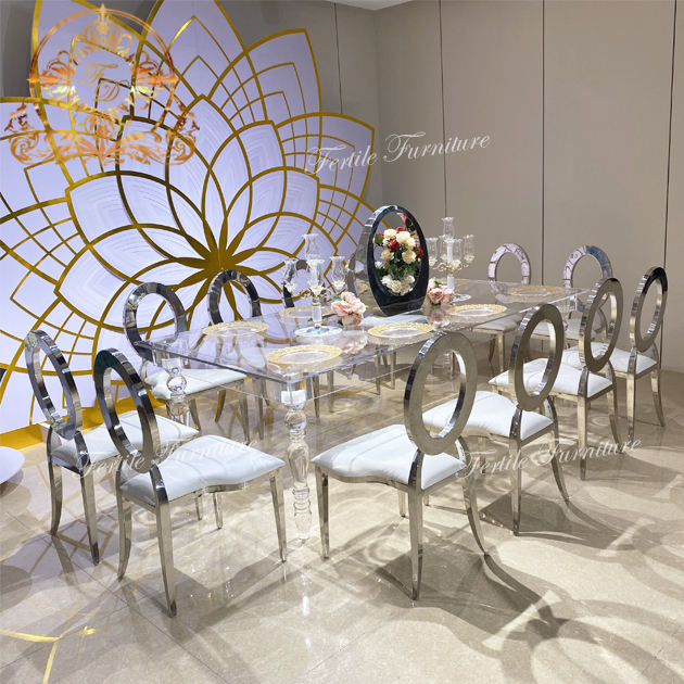 Wedding Table Wedding Party Uesd Transparent Crystal Acrylic Banquet Table With Chairs