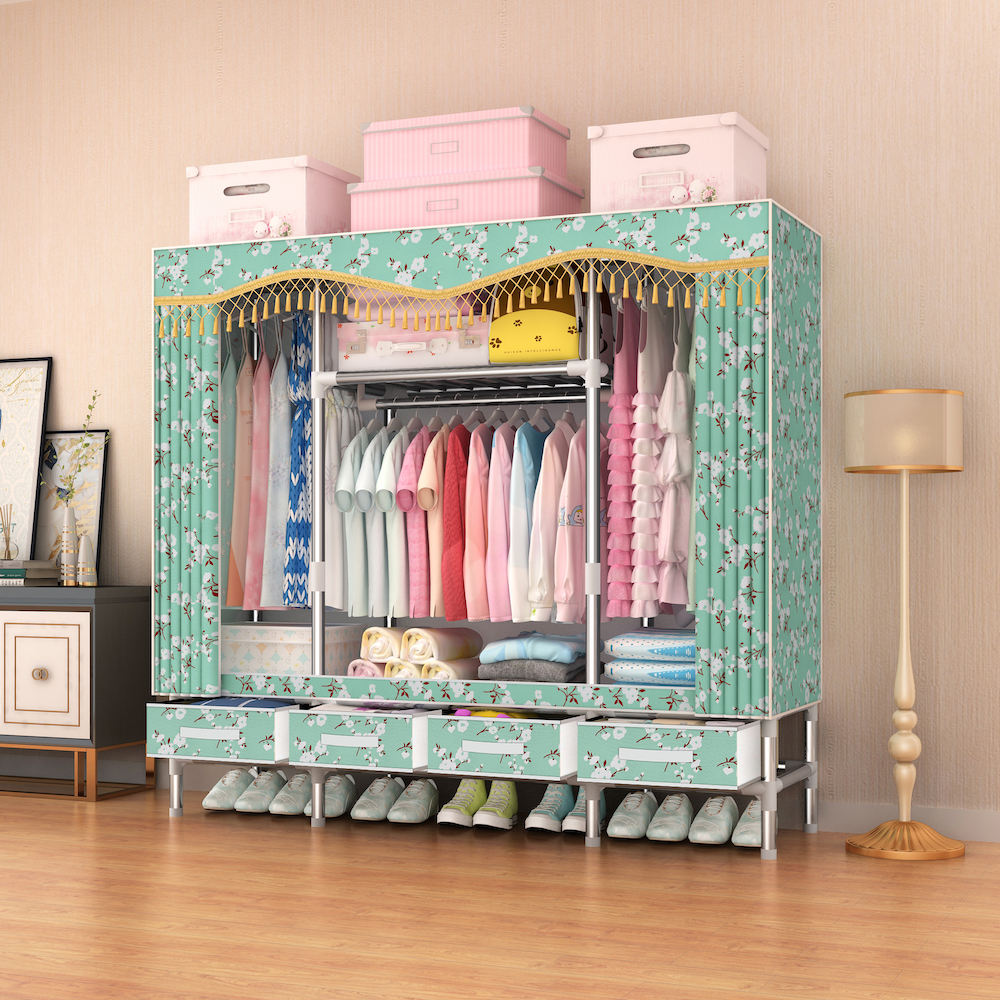 25mm Folding Wardrobe 163cm Width Fabric Wardrobe Closet with Drawers Cabinet for Clothes Wardrobe for Bedroom Manufacturer