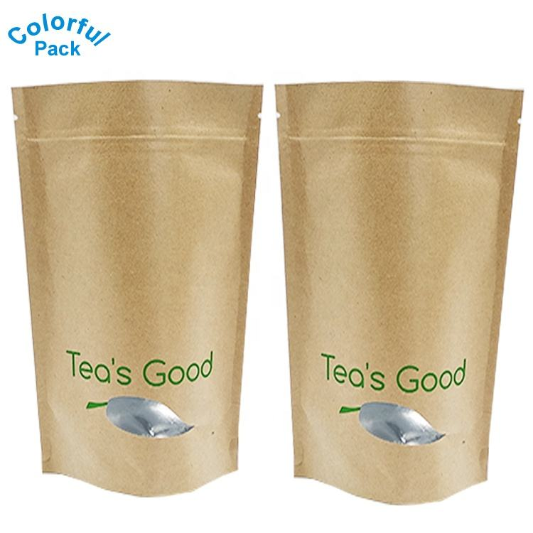 Custom logo printing kraft coffee bag food packaging aluminum foil packaging bag
