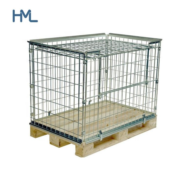 Euro industrial warehouse folded stacking storage forklift supermarket metal wire mesh pallet cage with wooden pallet