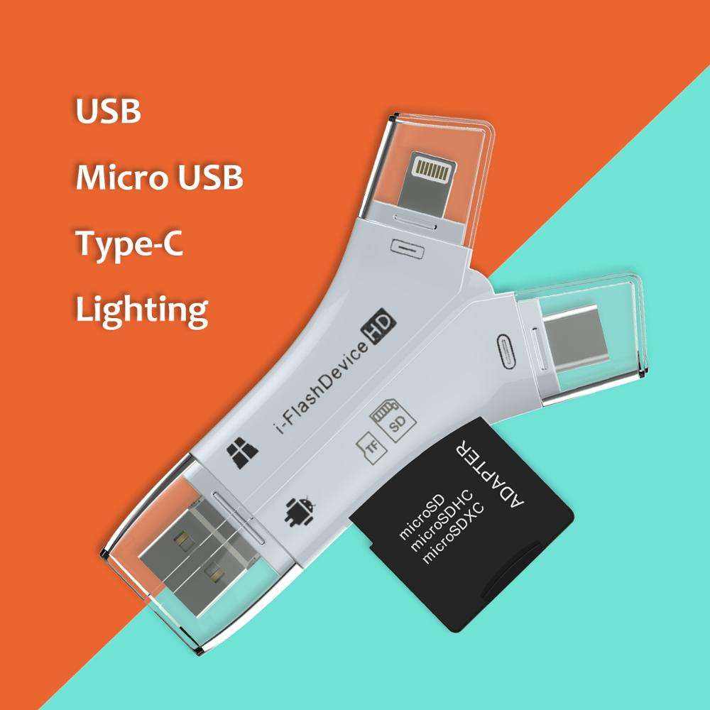 Black White color 4 in 1 card reader USB-C SD usb flash drive for iphone 11 pro max
