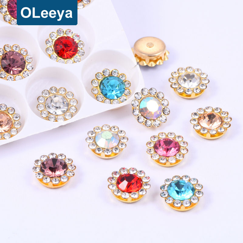 Wholesale Glass Glittering 10mm 12mm Sun Flower Pendant Claw Rhinestones without Hole Galactic Strass Crystals for DIY