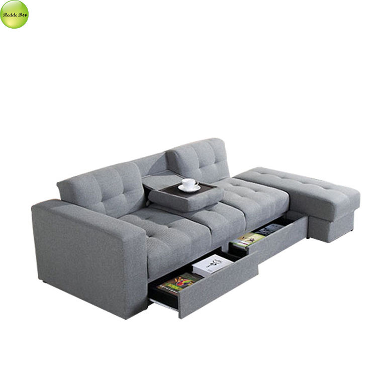 Good design fabric futon storage sofa bed with cup holder