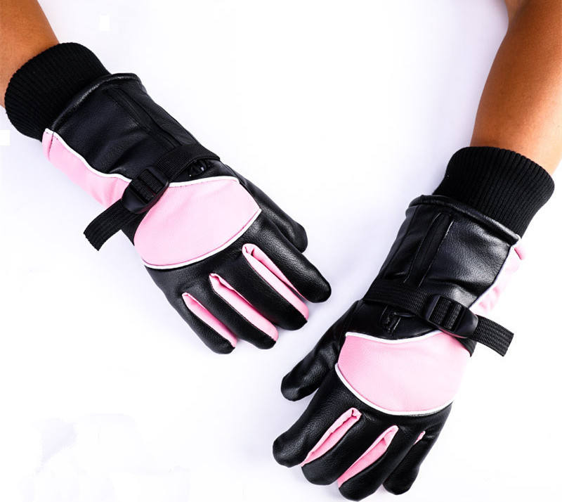N305 PU leather Rechargeable Battery Motorcycle Heated Gloves Winter Waterproof ski gloves for men women