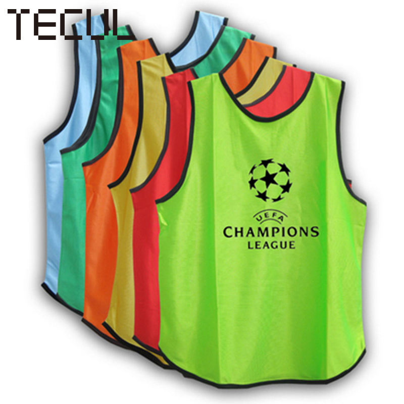 TECUL custom half and half jerseys customized mesh breathable team uniform football/basketball training against expand vest