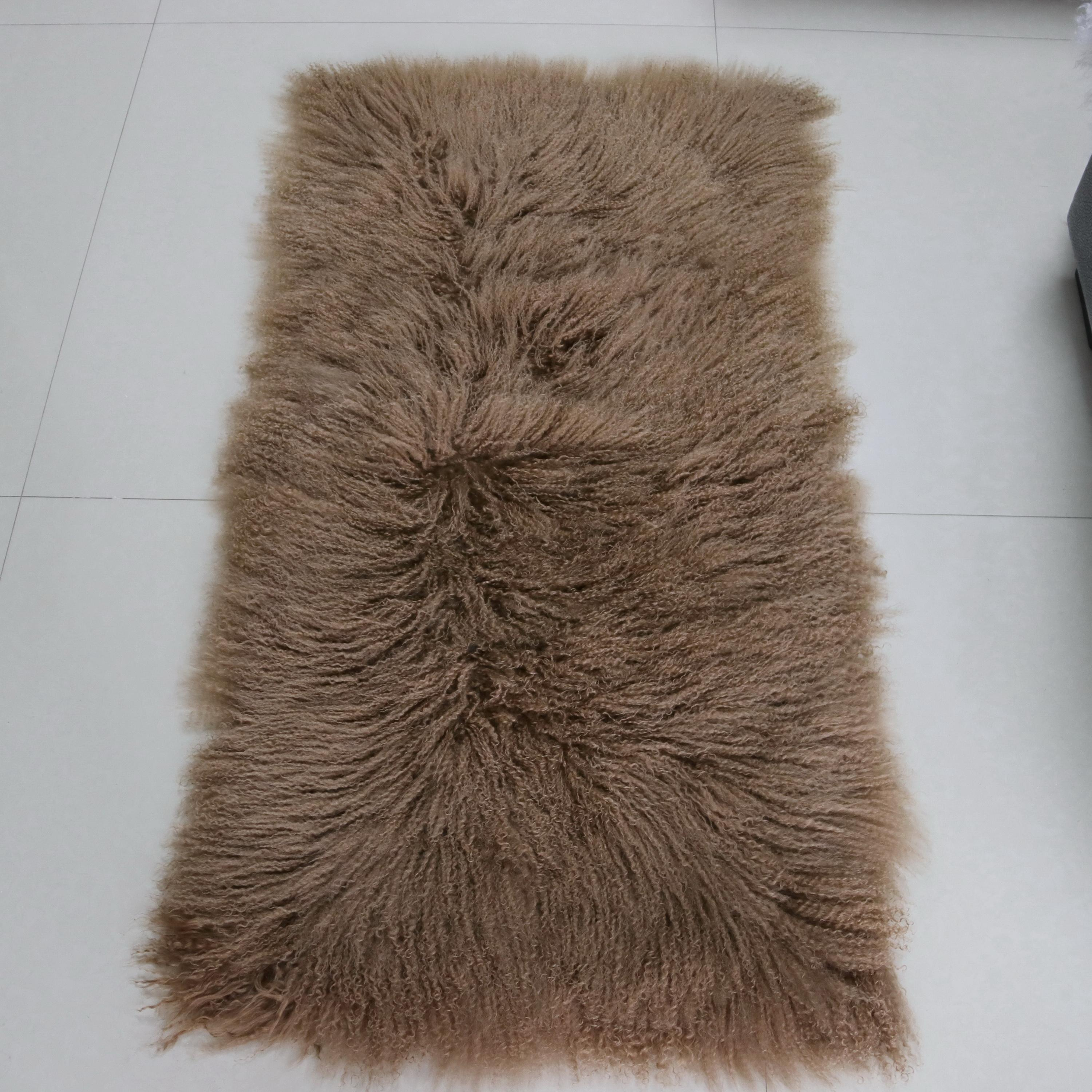 Long curly hair Mongolian Tibet Lamb fur plate rug throw Indigo blue new authentic real genuine sheepskin