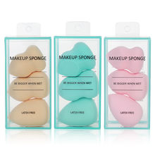 New arrival  3 in 1 different shape beauty sponge blender foundation makeup sponge set for women