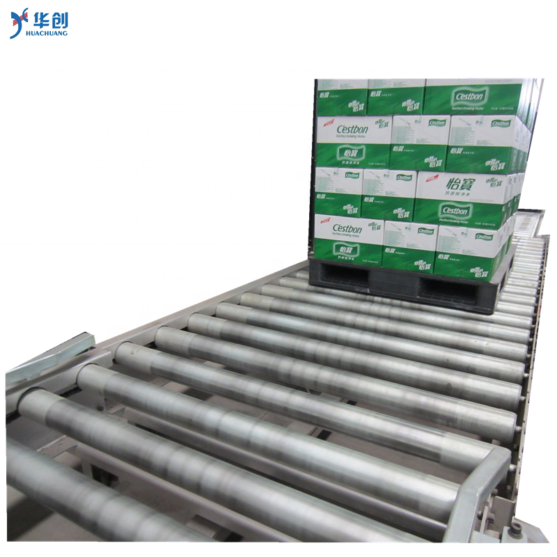 stainless steel chain conveyor with motor drive pallet conveyor with flow rails