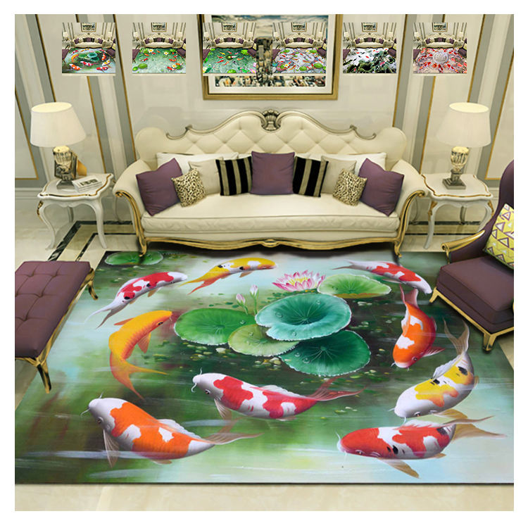 Pond Carp Design Style 3D Carpet Custom Rugs Luxury Colorful Carpets Living Room