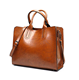 Women Oil Wax PU Leather Handbag Ladies Handbags Satchel Elegant Top-Handle Bag Vintage Shoulder Bag