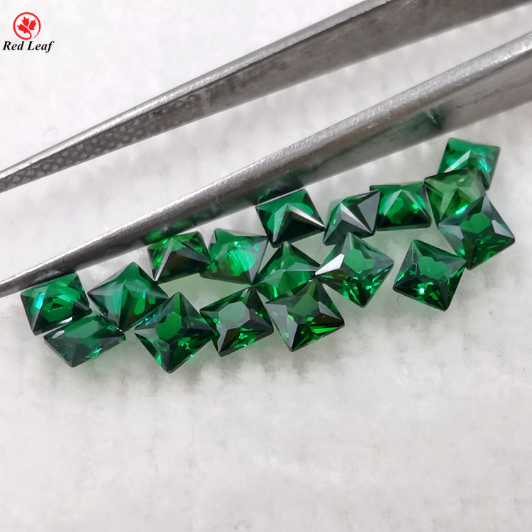 Clear square synthetic nano gems emerald green color stones nanosital gemstone