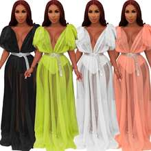 Fluorescent Green Sheer Mesh Maxi Dress Ruffle Shoulder Sexy V Neck Robe Long Night Club Party Dresses Fashion Clothing