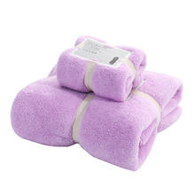2020 high quality microfiber fabric coral fleece 2pcs bath towel face hand towel Set Soft and comfortable