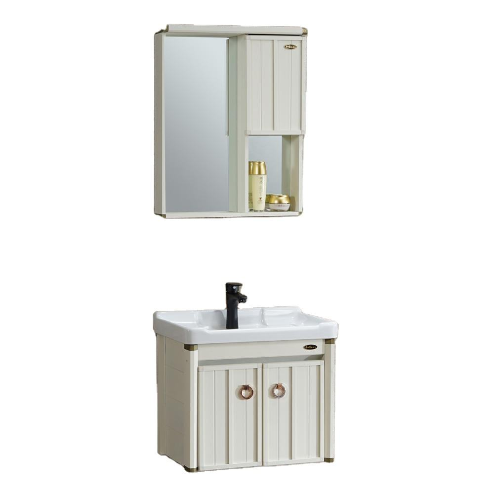 2020 China modern aluminum white mirror cabinet bathroom vanity toilet furniture bathroom cabinet with ceramic wash sink