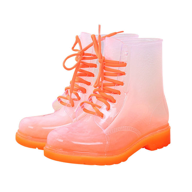 Fashion Women Rain Boots Waterproof Lady Shoes Transparent Candy Color Ankle Outdoor Girl's Shoes
