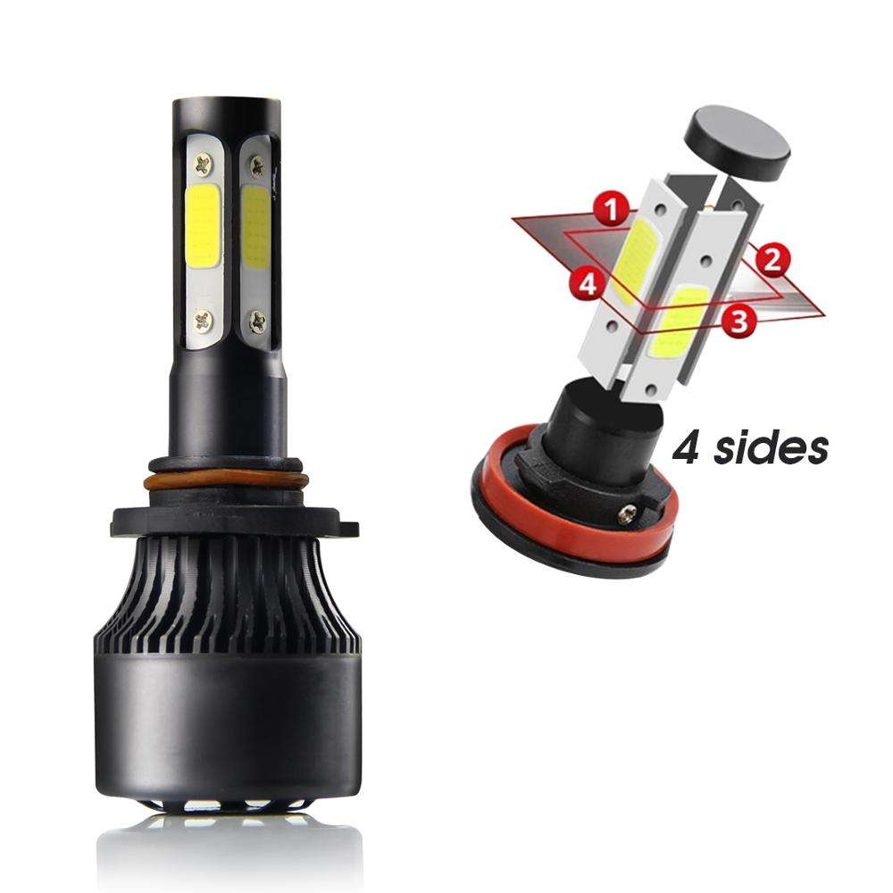 Auto Car 12v 24v Led Light H4 H7 Fan Cooling Bulbs 4 Sides 12000Lm 9005 9006 S2 Led Headlight