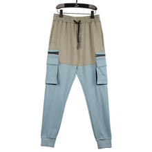 Hipster Blue Gray Stitching Tooling Multi-Pocket Zipper Long Pants Men Summer Trousers