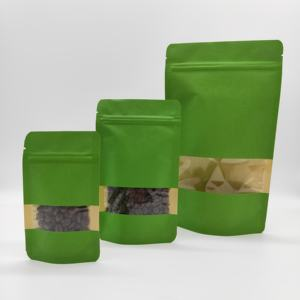 Kraft paper window stand up bag food packaging zipper laminating pouch for coffee and tea
