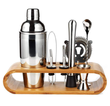 New Product Idea Professional Boston Cocktail Shaker 10-piece Bartender Kit 750ML Stainless Steel Bar Tool Set With Bamboo Stand