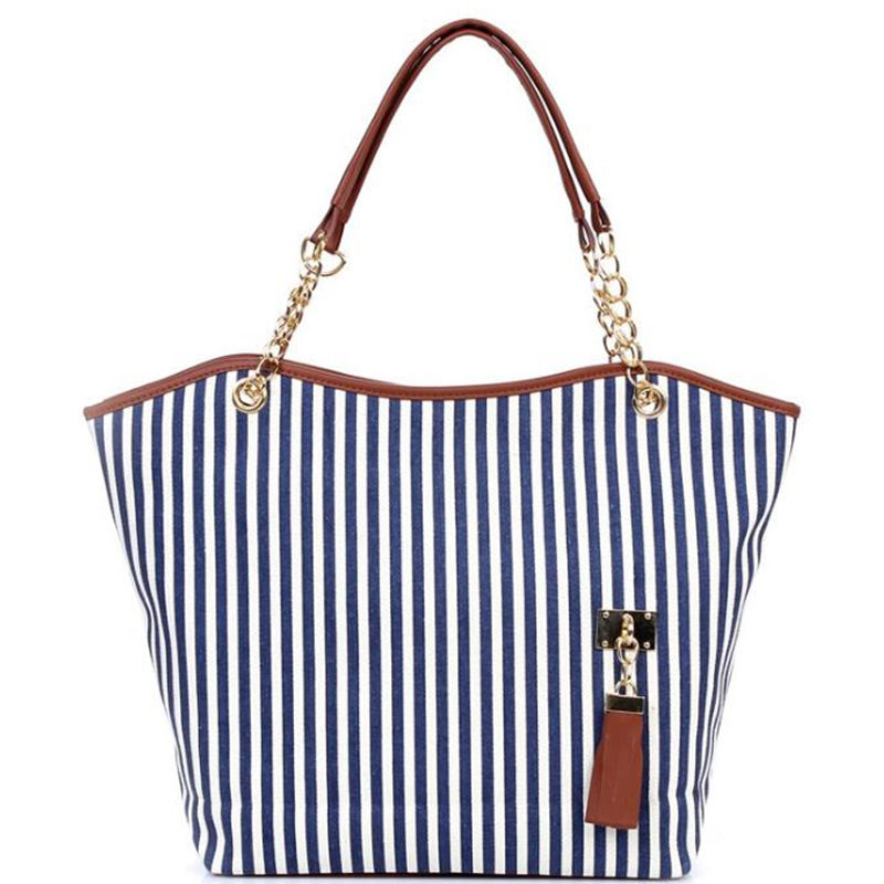 Chain Tassel Curved Stripe Canvas Handbag Personalized Monogrammed Chain Tassel Curved Stripe Canvas Design Tote Bag