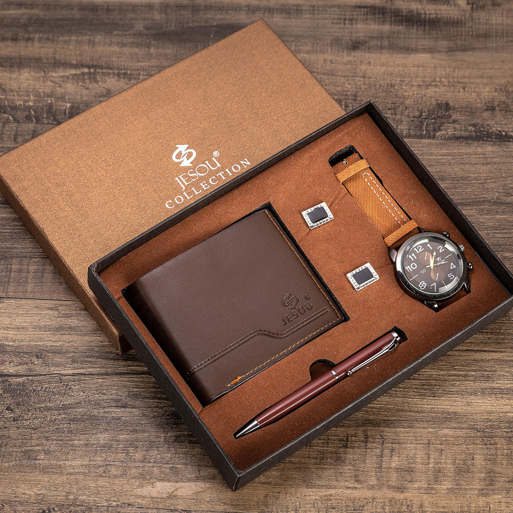 Men's gift set, watch Wallet, cufflink,t, creative combination set