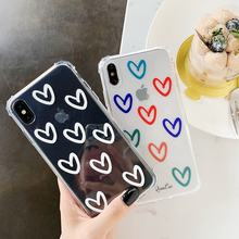Top Selling Heart Design TPU for iPhone Case Back Cover 8 7 6s Plus X Max Soft Mobile Phone Shell Girly