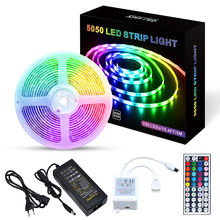TV Backlight 16.4ft 5m 10m Flexible 5050-30LEDS Color Changing RGB Led Light Strip With 44 Keys IR Remote Controller