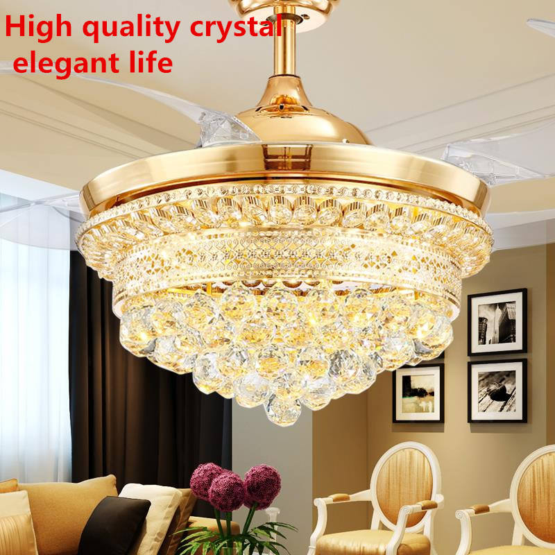 42 inch Modern Ceiling Fan Crystal luxury chandelier lighting ceiling fan with light remote control