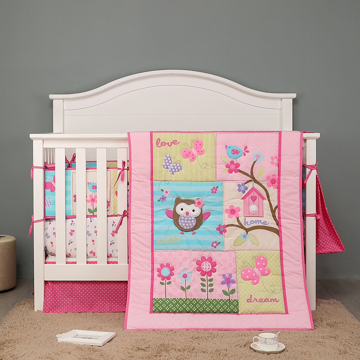 OEKO-TEX 4pcs crib bedding sets for girls pink owl flowers applique embroidery ebay amazon hot sale 2020 new dropshipping