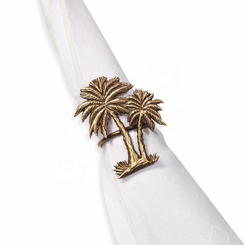 IN STOCK Metal Gold Bronze Vintage Double Palm Trees Napkin Ring For Table Decoration,Wedding