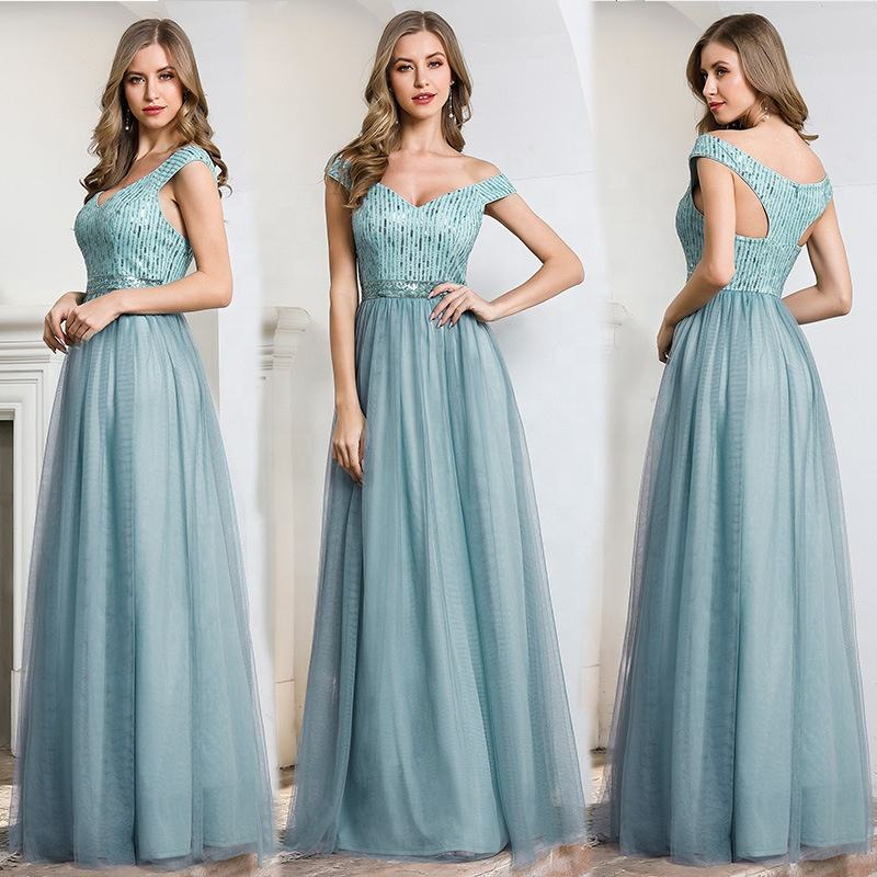 In-Stock Items Dresses Evening Dresses Women Factory Direct Off Shoulder Sexy Bodycon Long Bridesmaid Ladies Elegant Party Women Evening Dresses