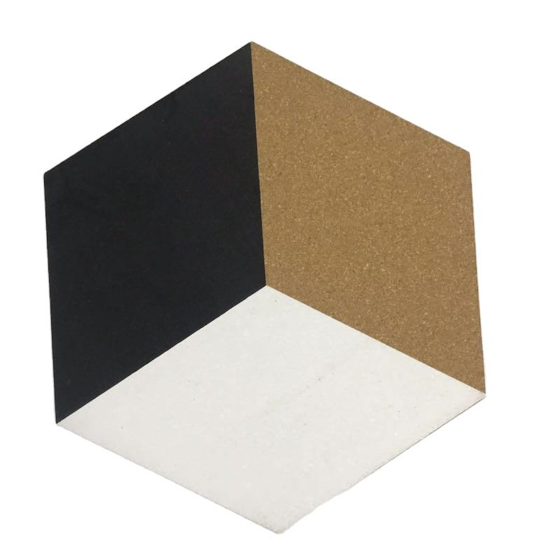 Home Decor Self Adhesive DIY Cork Bulletin Board Hexagon 4 Pack