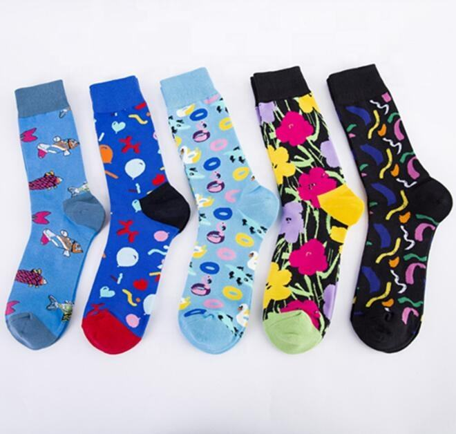New design happy socks,Man colorful creative cotton socks,funny printed socks with flower swim ring fish balloon