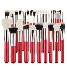 New Arrival BEILI  Brand Red /Silver Professional Makeup Brushes Tools kit 30pcs natural hair make up brushes set custom logo