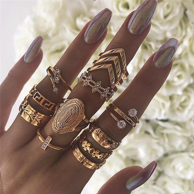 13 Pieces/Set Hot Selling Rings For Women Alloy Gold Plated Geometric Rings for Female Jewelry Gift Wholesale