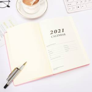 2021 stationary custom A5 size embossed logo leather band notebook diary