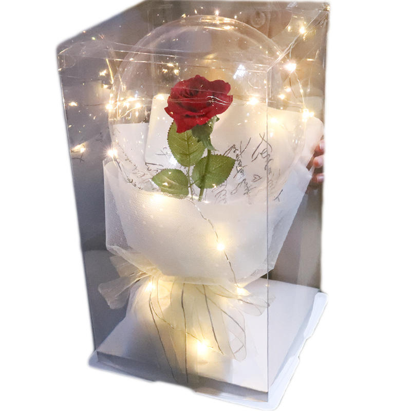 DIY Valentines day balloons transparent led bobo ballon rose feather filler artificial flower for valentine gifts saint valentin