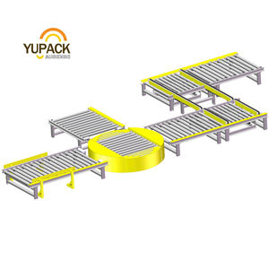 Automatic Pallet Roller Conveyor with Transfer Chain Turntable