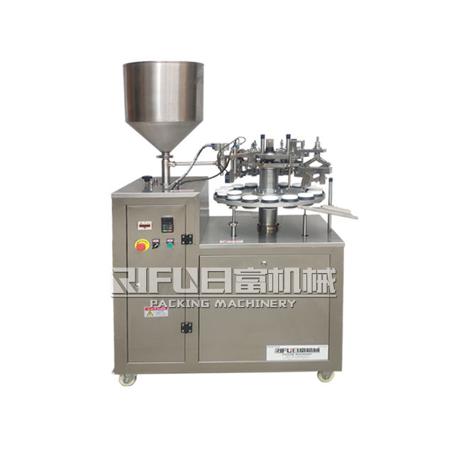Semi automatic ointment tube filling sealing machine / AB glue aluminum tube filling folding machinery