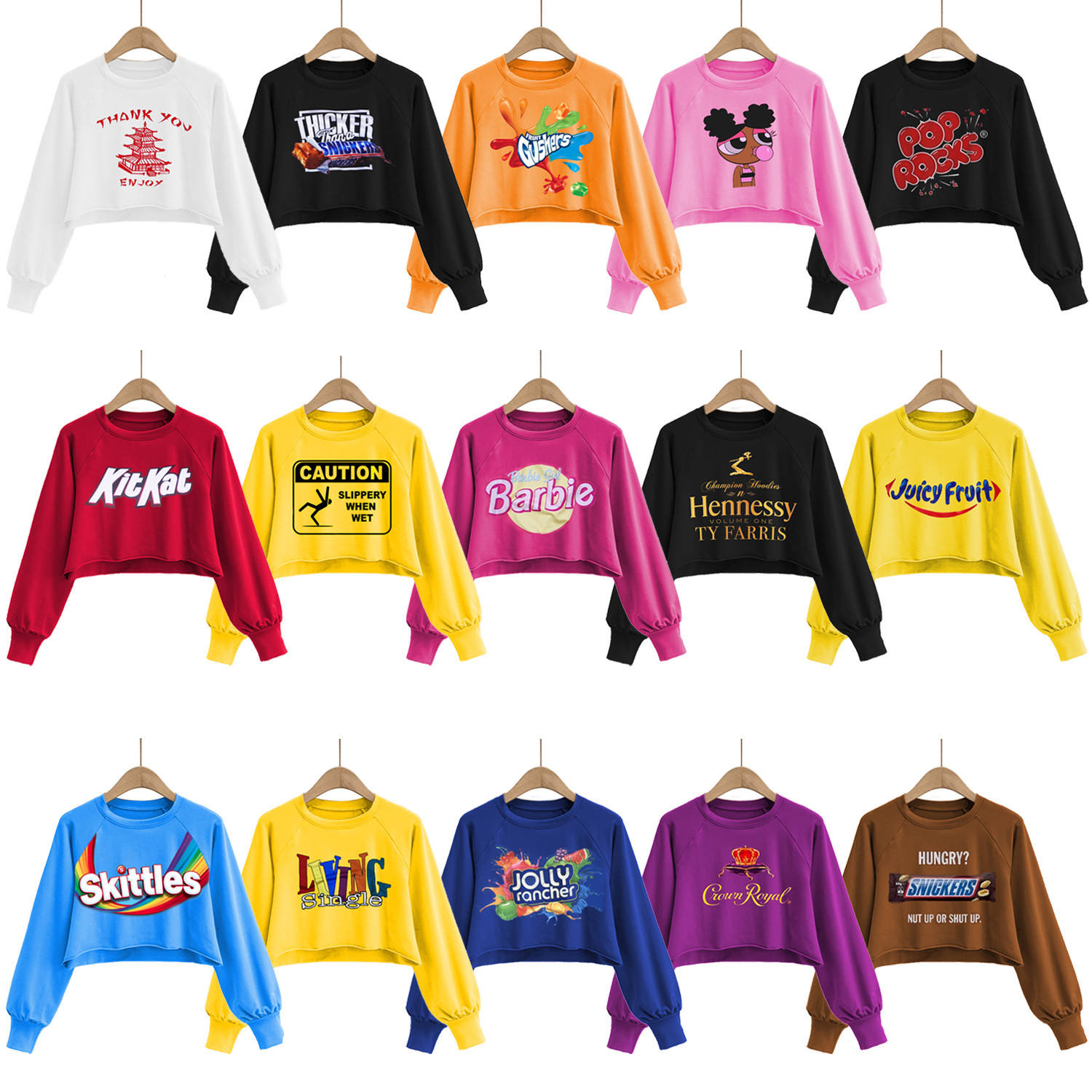 new autumn collection womens sexy plus size bare midriff Girls Fleece Candy snack printed long sleeve hoodie